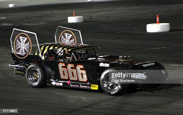 Jesse James car number 666 races around the track at The Cisco Burger World Figure 8 Championship car race at the Irwindale Speedway on October 7...