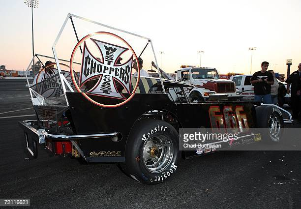 Jesse James driving car number 666 attends The Cisco Burger World Figure 8 Championship car race at the Irwindale Speedway on October 7 2006 in Los...