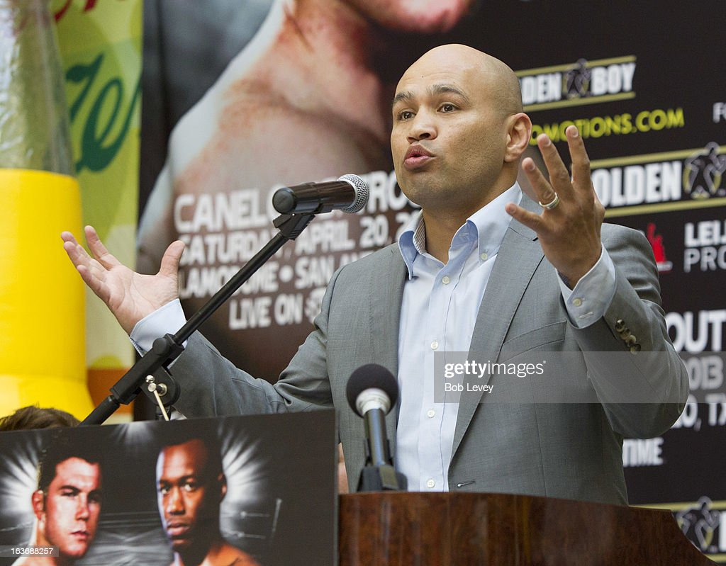 Jesse James Leija addesses the crowd to promote an upcoming super welterweight in San Antonio between Canelo Alvarez and Austin 'No Doubt' Trout during a press conference on March 14, 2013 in Houston, Texas.