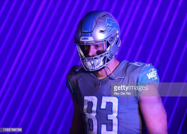 Jesse James of the Detroit Lions prepares to take the field before the game against the Tampa Bay Buccaneers at Ford Field on December 26, 2020 in...