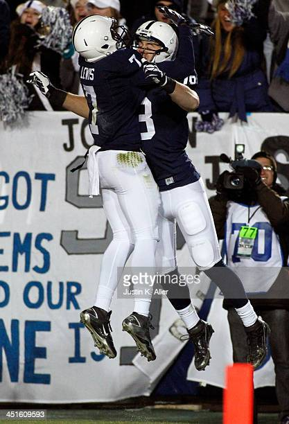 Jesse James of the Penn State Nittany Lions celebrates after scoring on a 46 yard pass against the Nebraska Cornhuskers during the game on November...