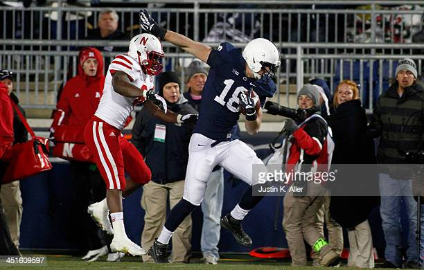 Jesse James of the Penn State Nittany Lions scores on a 46 yard pass against the Nebraska Cornhuskers during the game on November 23 2013 at Beaver...