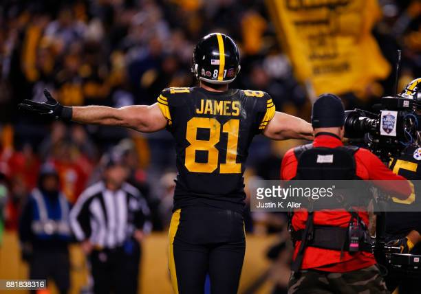 Jesse James of the Pittsburgh Steelers in action against the Tennessee Titans on November 16, 2017 at Heinz Field in Pittsburgh, Pennsylvania.