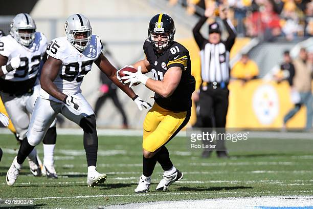 Jesse James of the Pittsburgh Steelers runs after a catch during the game against the Oakland Raiders at Heinz Field on November 8, 2015 in...