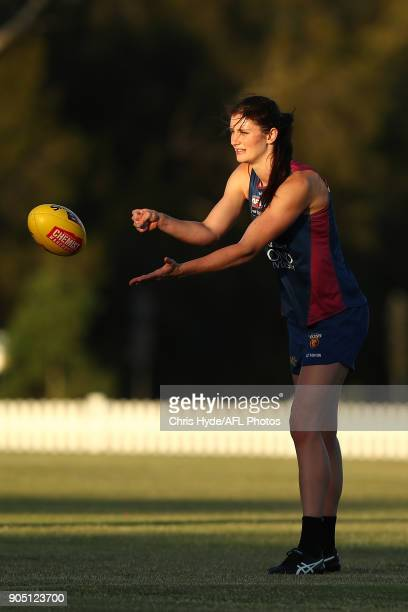 Jesse Keeffe handballs during a Brisbane Lions AFL training session at Leyshon Park on January 15 2018 in Brisbane Australia