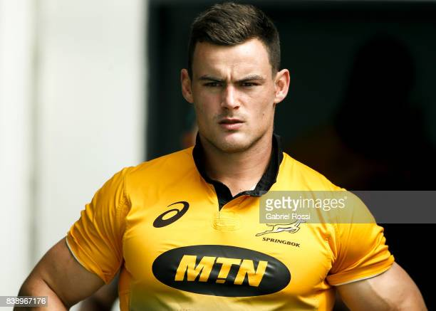 Jesse Kriel looks on during South Africa Rugby Championship Captain's Run at Padre Ernesto Martearena Stadium on August 25 2017 in Salta Argentina
