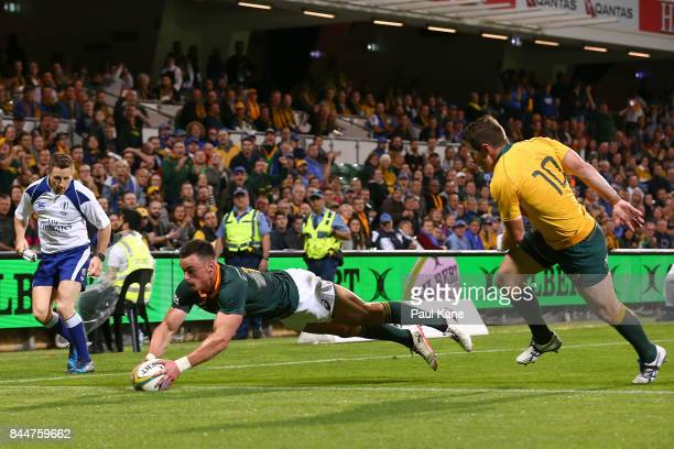 Jesse Kriel of South Africa crosses for a try during The Rugby Championship match between the Australian Wallabies and the South Africa Springboks at...