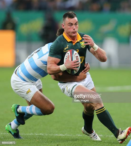 Jesse Kriel of South Africa during the Rugby Championship match between South Africa and Argentina at Nelson Mandela Bay Stadium on August 19 2017 in...