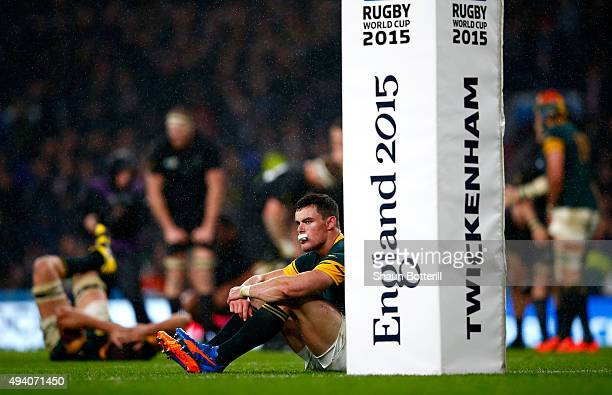 Jesse Kriel of South Africa looks dejected at the end of the match during the 2015 Rugby World Cup Semi Final match between South Africa and New...