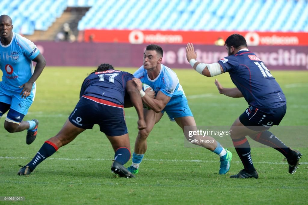 Jesse Kriel of the Bulls tackled by Fereti Saâaga of the Rebels during the Super Rugby match between Vodacom Bulls and Rebels at Loftus Versfeld on April 21, 2018 in Pretoria, South Africa.