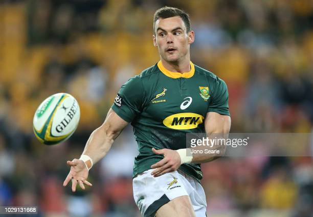 Jesse Kriel of the Springboks passes the ball during The Rugby Championship match between the Australian Wallabies and the South Africa Springboks at...