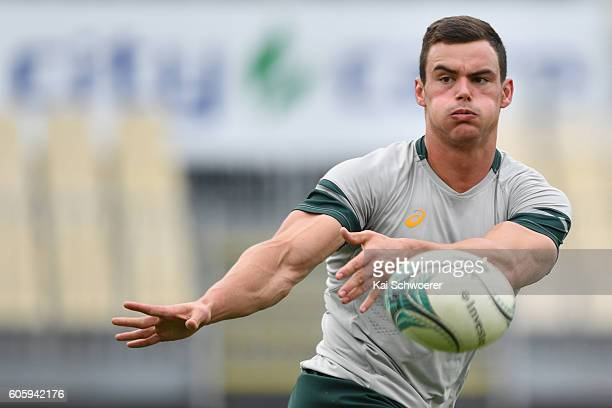 Jesse Kriel of the Springboks passes the ball during the South African Springboks captain's run at AMI Stadium on September 16 2016 in Christchurch...
