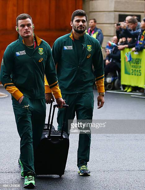 Jesse Kriel with Damian de Allende of South Africa during the Rugby World Cup Semi Final match between South Africa and New Zealand at Twickenham...