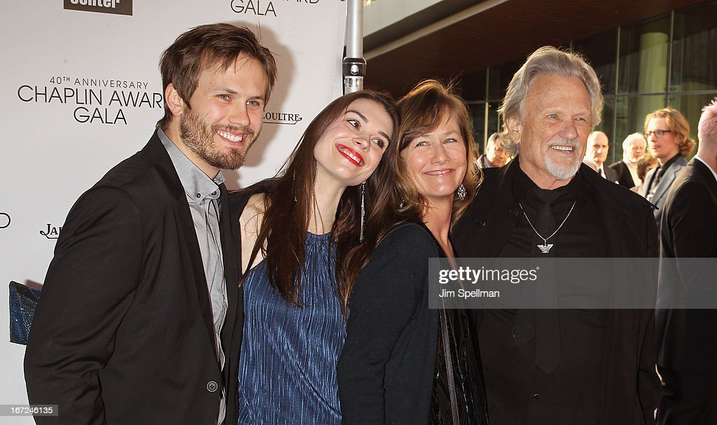 Jesse Kristofferson, Kimberly Alexander, Lisa Kristofferson and Kris Kristofferson attend the 40th Anniversary Chaplin Award Gala at Avery Fisher Hall at Lincoln Center for the Performing Arts on April 22, 2013 in New York City.