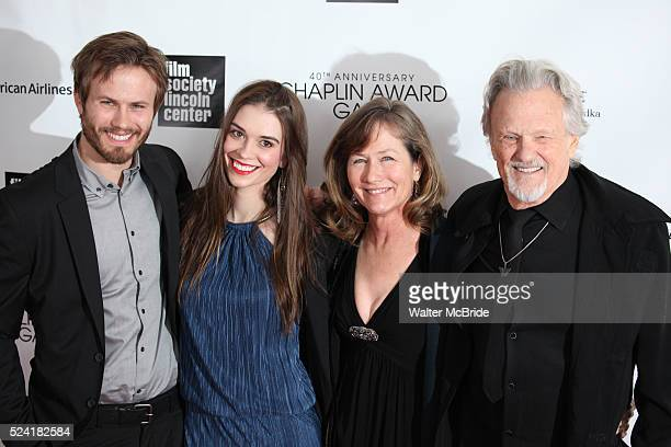 Jesse Kristofferson, Kimberly Alexander, Lisa Kristofferson and Kris Kristofferson arriving for the 40th Annual Chaplin Award Gala Honoring Barbra...