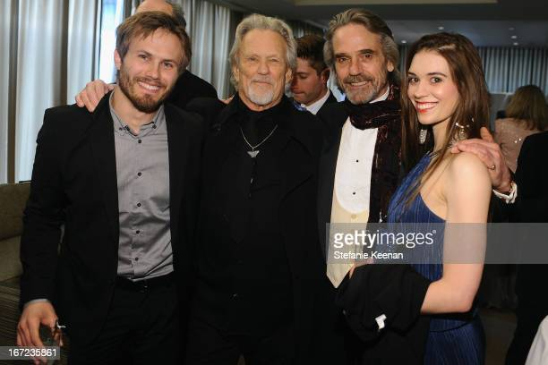 Jesse Kristofferson, musician Kris Kristofferson, actor Jeremy Irons and Kimberly Alexander attend the Grey Goose cocktail reception of The Film...