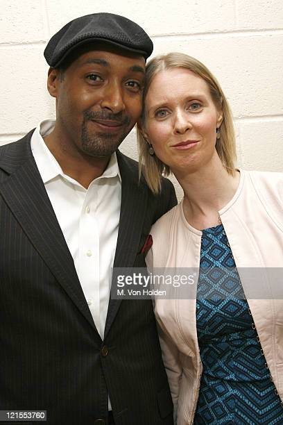 Jesse L Martin and Cynthia Nixon during Fifth Annual Our Time Benefit Gala CoHosted by 'Law Orders' Mariska Hargitay and Jesse L Martin Backstage and...