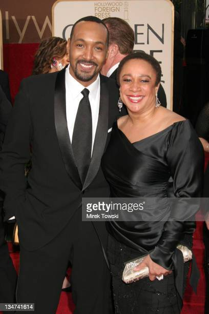 Jesse L Martin and S Epatha Merkerson during The 63rd Annual Golden Globe Awards Arrivals at Beverly Hilton Hotel in Beverly Hills California United...