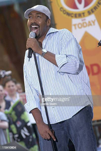 Jesse L Martin during The Cast of the Movie 'Rent' Performs on the 'Today Show' 2005 Summer Concert Series at Rockefeller Plaza in New York City New...