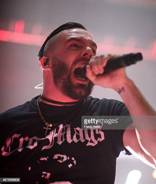 Jesse Leach of Killswitch Engage performs at Southampton Guildhall on February 7 2014 in Southampton England