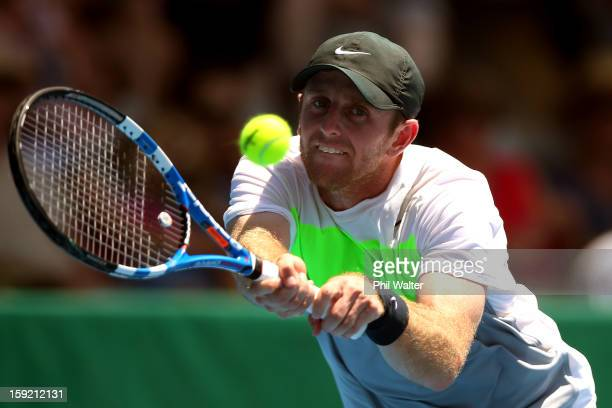 Jesse Levine of Canada plays a backhand in his quarterfinal match against Sam Querrey of the USA during day four of the Heineken Open at the ASB...