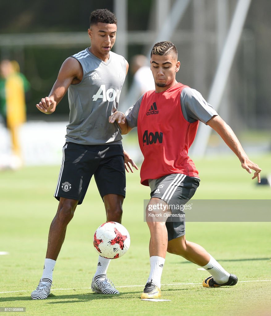 Jesse Lingard #14 and Andreas Pereira #15 of Manchester United during training for Tour 2017 at UCLA's Drake Stadium July 10, 2017, in Los Angeles, California.