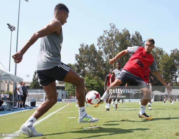 Jesse Lingard and Andreas Pereira of Manchester United in action during a first team training session as part of their preseason tour of the United...