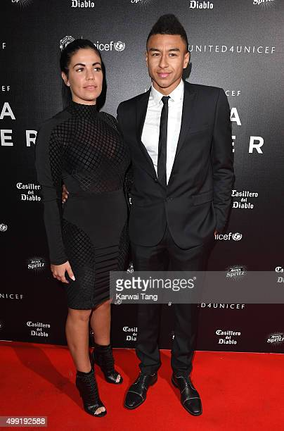 Jesse Lingard and Emma Hyde attend the United for UNICEF Gala Dinner at Old Trafford on November 29 2015 in Manchester England