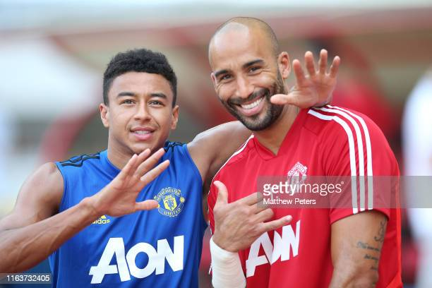 Jesse Lingard and Lee Grant of Manchester United in action during a first team training session as part of their preseason tour of Australia...