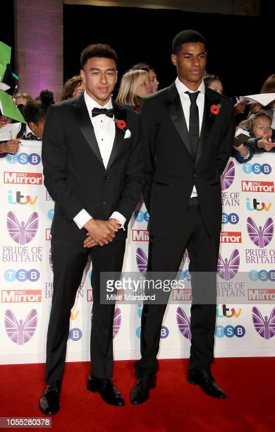 Jesse Lingard and Marcus Rashford attend the Pride of Britain Awards 2018 at The Grosvenor House Hotel on October 29 2018 in London England