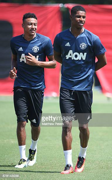 Jesse Lingard and Marcus Rashford of Manchester United in action during a first team training session as part of their preseason tour of China at...