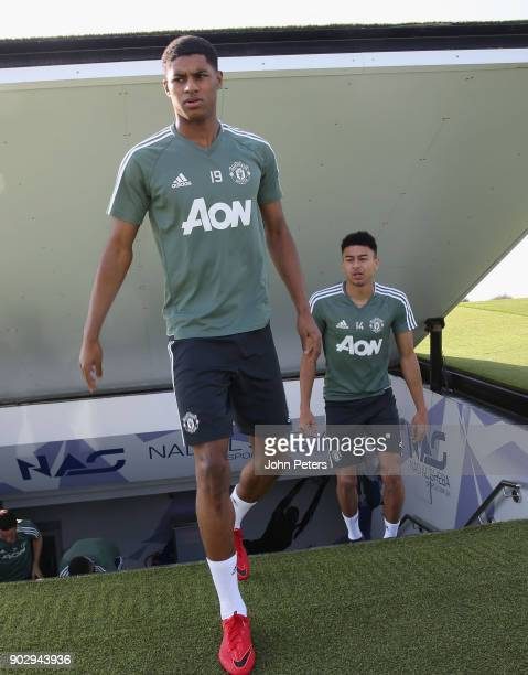 Jesse Lingard and Marcus Rashford of Manchester United in action during a first team training session at Nad Sheba Sports Complex on January 9 2018...