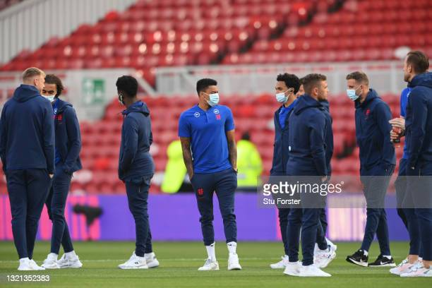 Jesse Lingard and Trent Alexander-Arnold of England inspect the pitch prior to the international friendly match between England and Austria at...