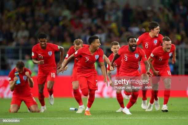 Jesse Lingard Danny Rose of England and their teammates celebrate winning a penalty shootout at the end of extra time during the 2018 FIFA World Cup...
