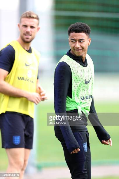 Jesse Lingard in action during the England training session on June 21 2018 in Saint Petersburg Russia