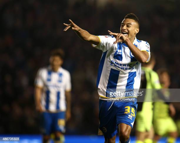 Jesse Lingard of Brighton celebrates after scoring the teams second goal of the goal during the Sky Bet Championship match between Brighton Hove...