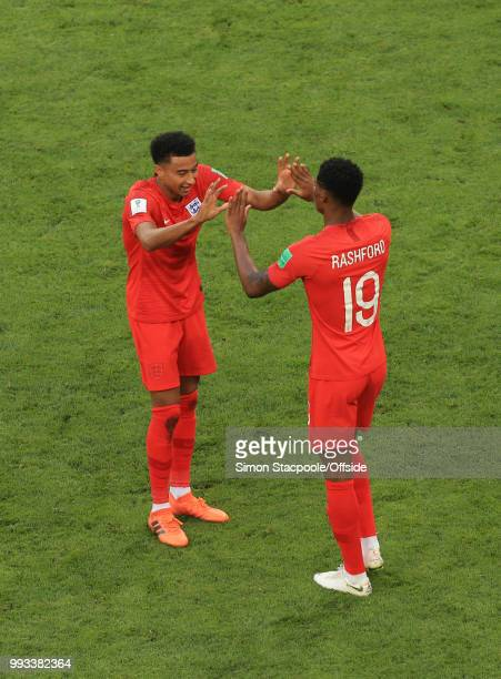 Jesse Lingard of England and Marcus Rashford of England celebrate victory after the 2018 FIFA World Cup Russia Quarter Final match between Sweden and...