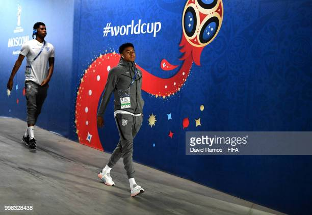 Jesse Lingard of England arrives at the stadium prior to the 2018 FIFA World Cup Russia Semi Final match between England and Croatia at Luzhniki...