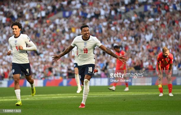 Jesse Lingard of England celebrates after scoring his team's first goal during the 2022 FIFA World Cup Qualifier match between England and Andorra at...