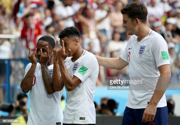 Jesse Lingard of England celebrates after scoring his team's third goal during the 2018 FIFA World Cup Russia group G match between England and...