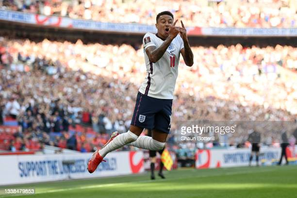 Jesse Lingard of England celebrates after scoring their team's first goal during the 2022 FIFA World Cup Qualifier match between England and Andorra...