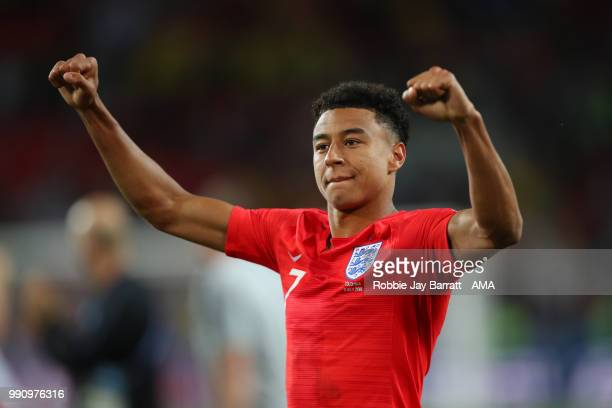Jesse Lingard of England celebrates his team's victory in a penalty shootout at the end of extra time during the 2018 FIFA World Cup Russia Round of...