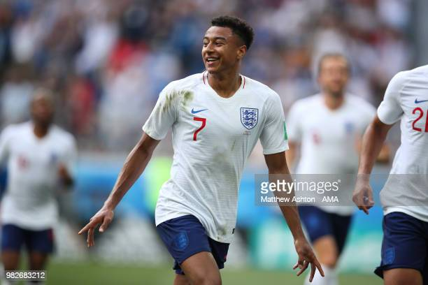 Jesse Lingard of England celebrates scoring a goal to make it 30 during the 2018 FIFA World Cup Russia group G match between England and Panama at...