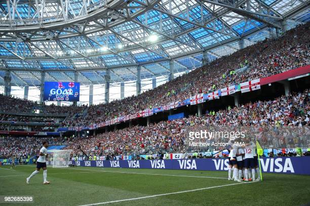 Jesse Lingard of England celebrates scoring a goal to make it 30 with his teammates during the 2018 FIFA World Cup Russia group G match between...