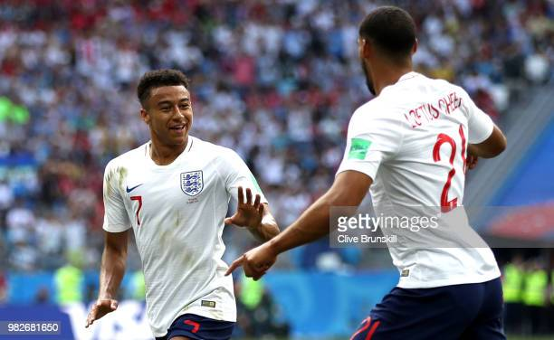 Jesse Lingard of England celebrates with teammate Ruben LoftusCheek after scoring his team's third goal during the 2018 FIFA World Cup Russia group G...