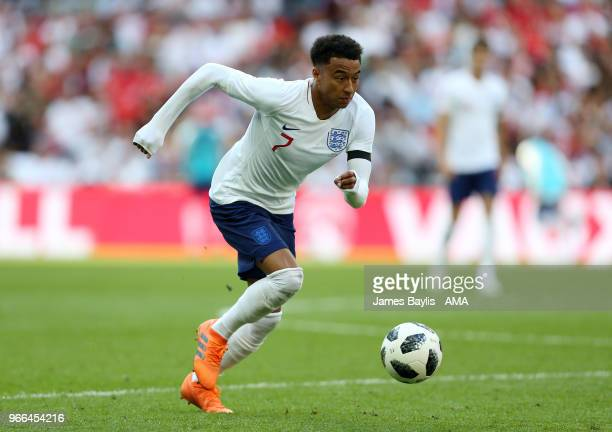 Jesse Lingard of England during the International Friendly between England and Nigeria at Wembley Stadium on June 2 2018 in London England