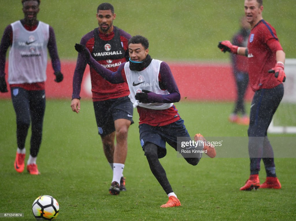 Jesse Lingard of England in action during an England training session at St Georges Park on November 7, 2017 in Burton-upon-Trent, England.