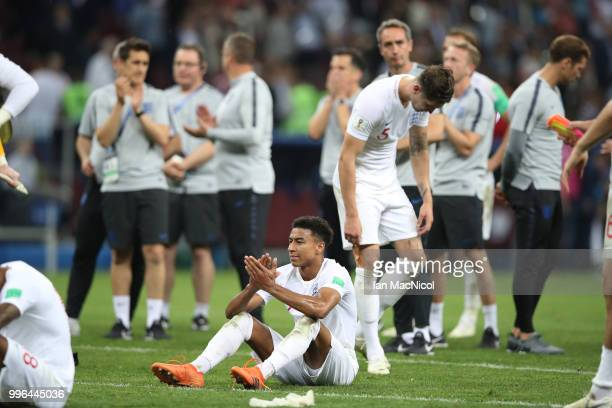 Jesse Lingard of England is seen at full time during the 2018 FIFA World Cup Russia Semi Final match between England and Croatia at Luzhniki Stadium...