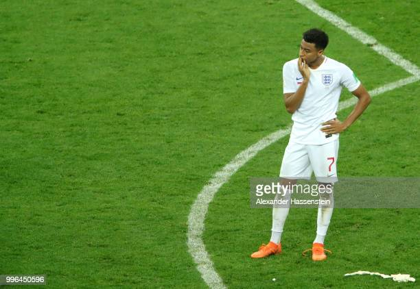 Jesse Lingard of England looks dejected following his team's defeat in the 2018 FIFA World Cup Russia Semi Final match between England and Croatia at...