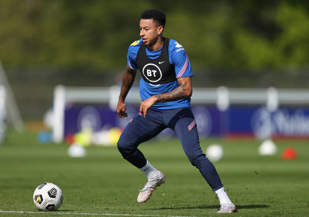 Jesse Lingard of England runs with the ball during a England Training Session as part of the England Pre-Euro 2020 Training Camp on May 29, 2021 in...